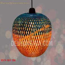 Đèn tre đan hình trái bí