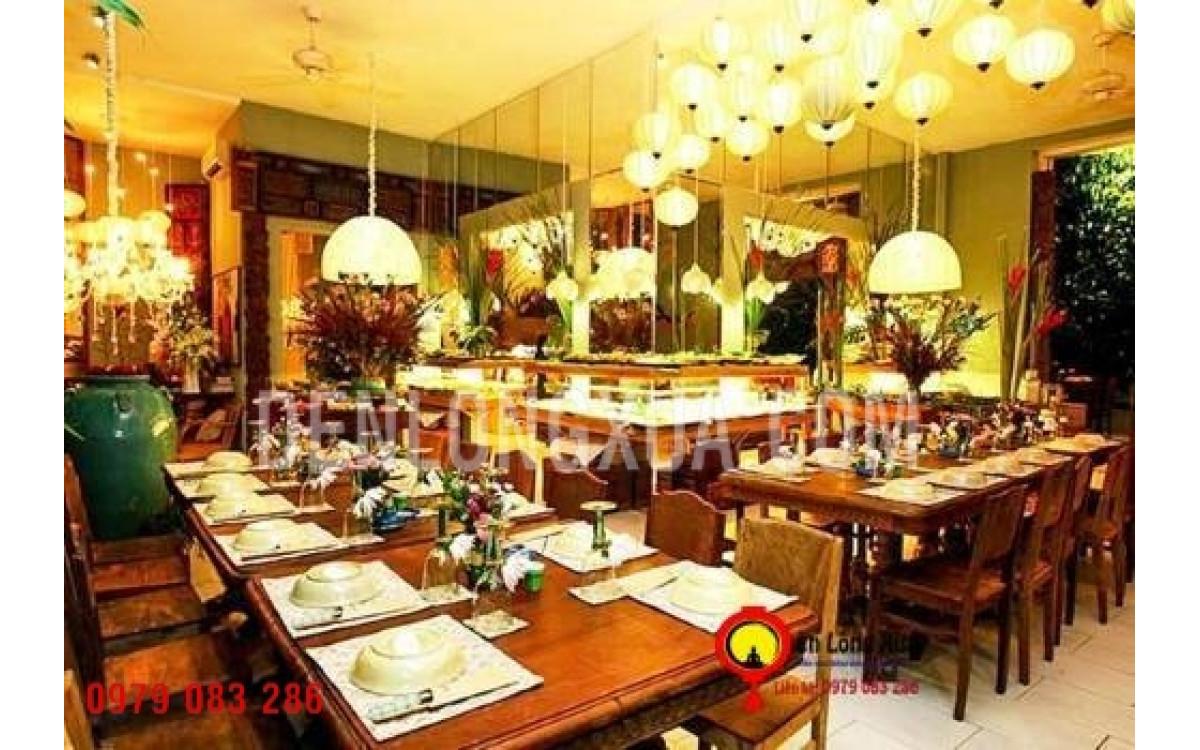 Đèn lống hội an vải lụa trang trí nhà hàng
