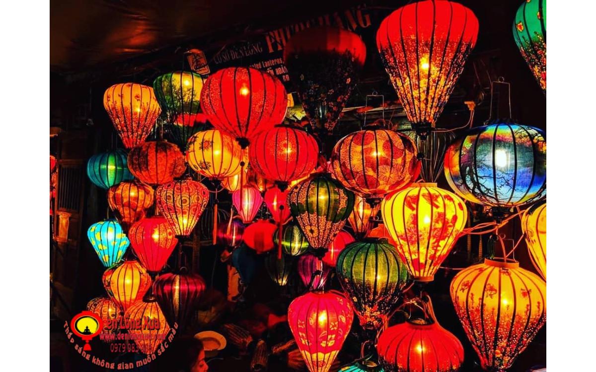 Đèn lồng vải hoa đẹp sử dụng trong trang trí lễ hội