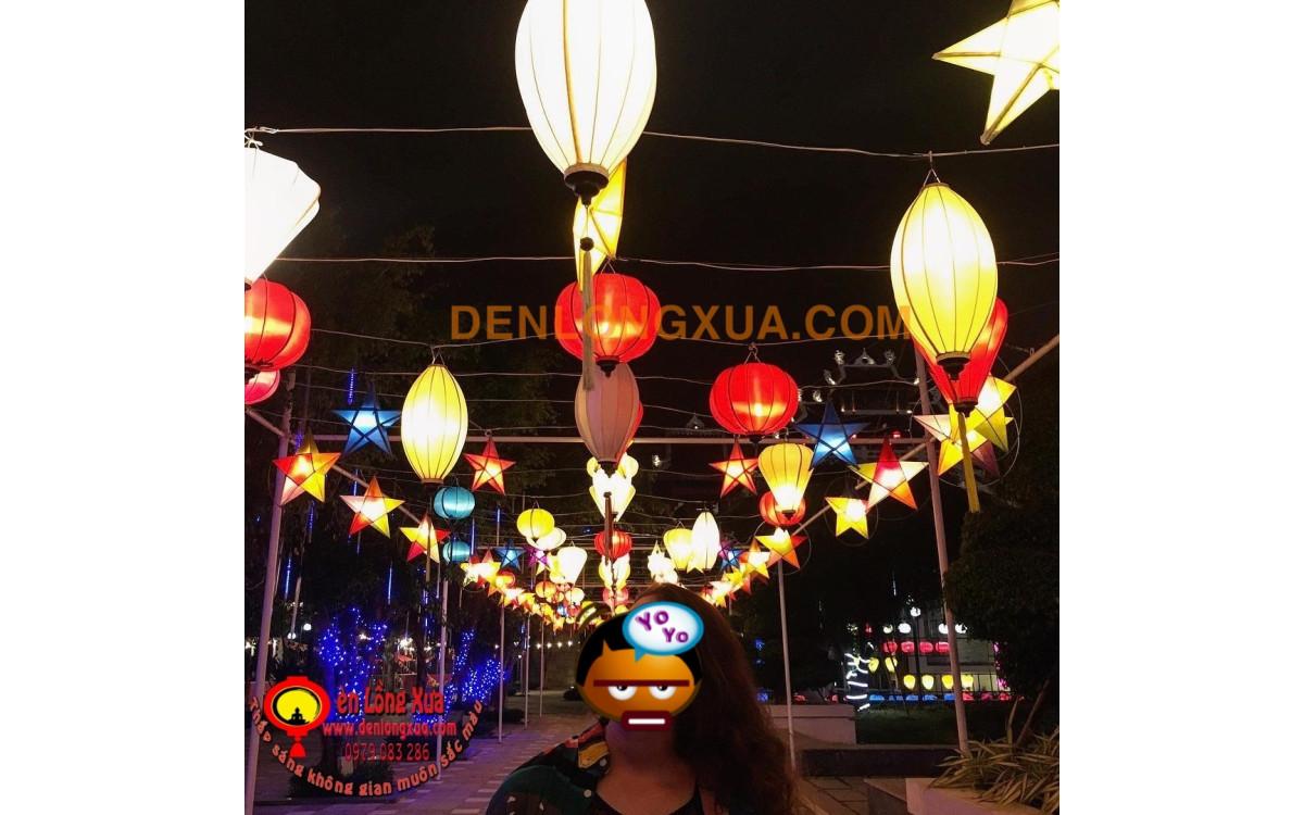 Rộn ràng sắc Phật Đản trang trí đèn lồng trên đường dẫn vào các khu tổ chức sự kiện