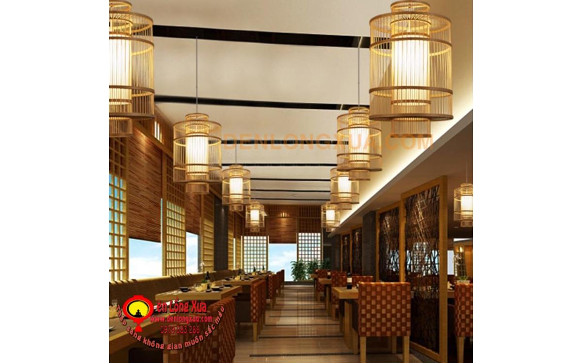 Đèn tre hình tăm trụ trang trí không gian nhà hàng