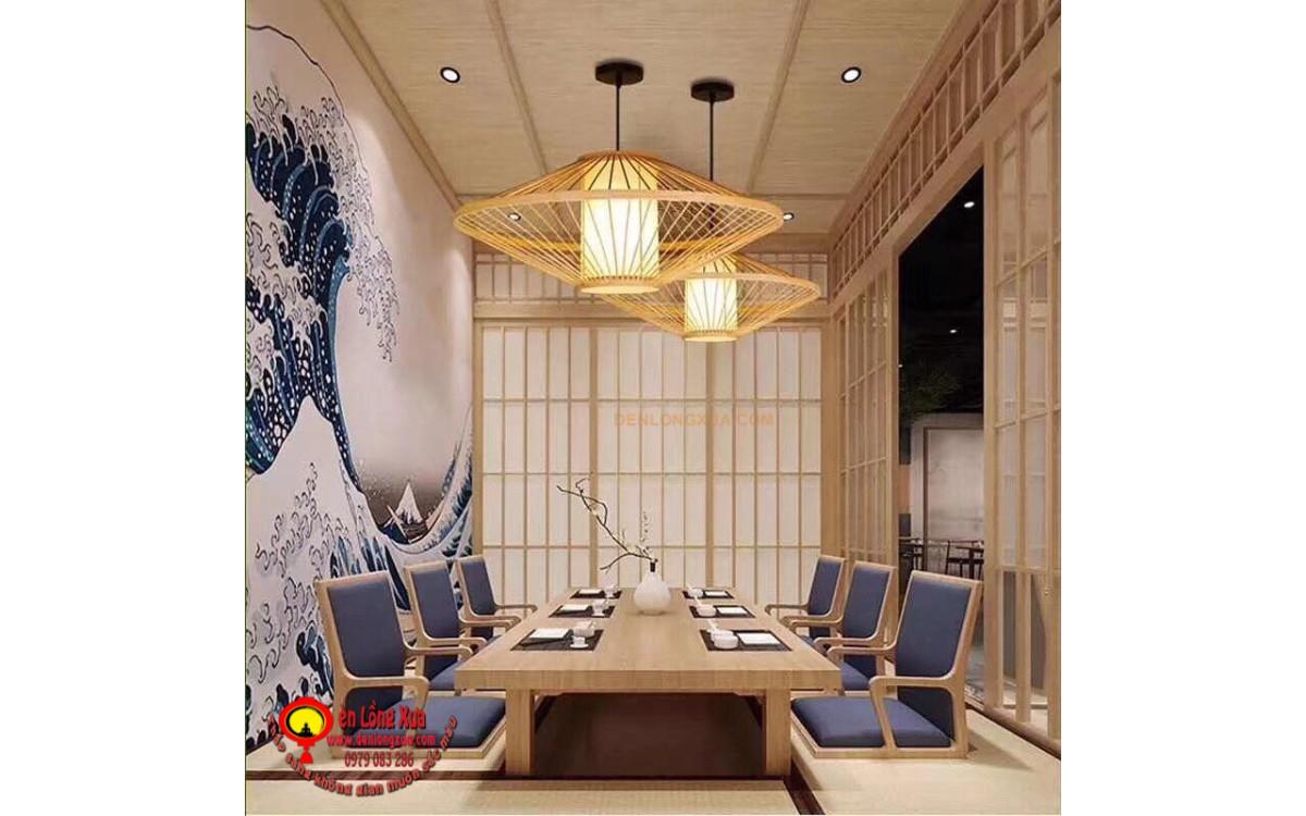 Đèn tre trang trí nhà hàng phong cách nhật bản