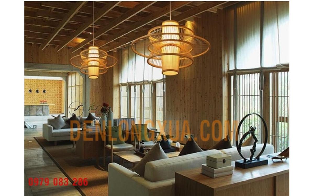 Trang trí quán cafe với đèn lồng mây tre hình cánh bướm