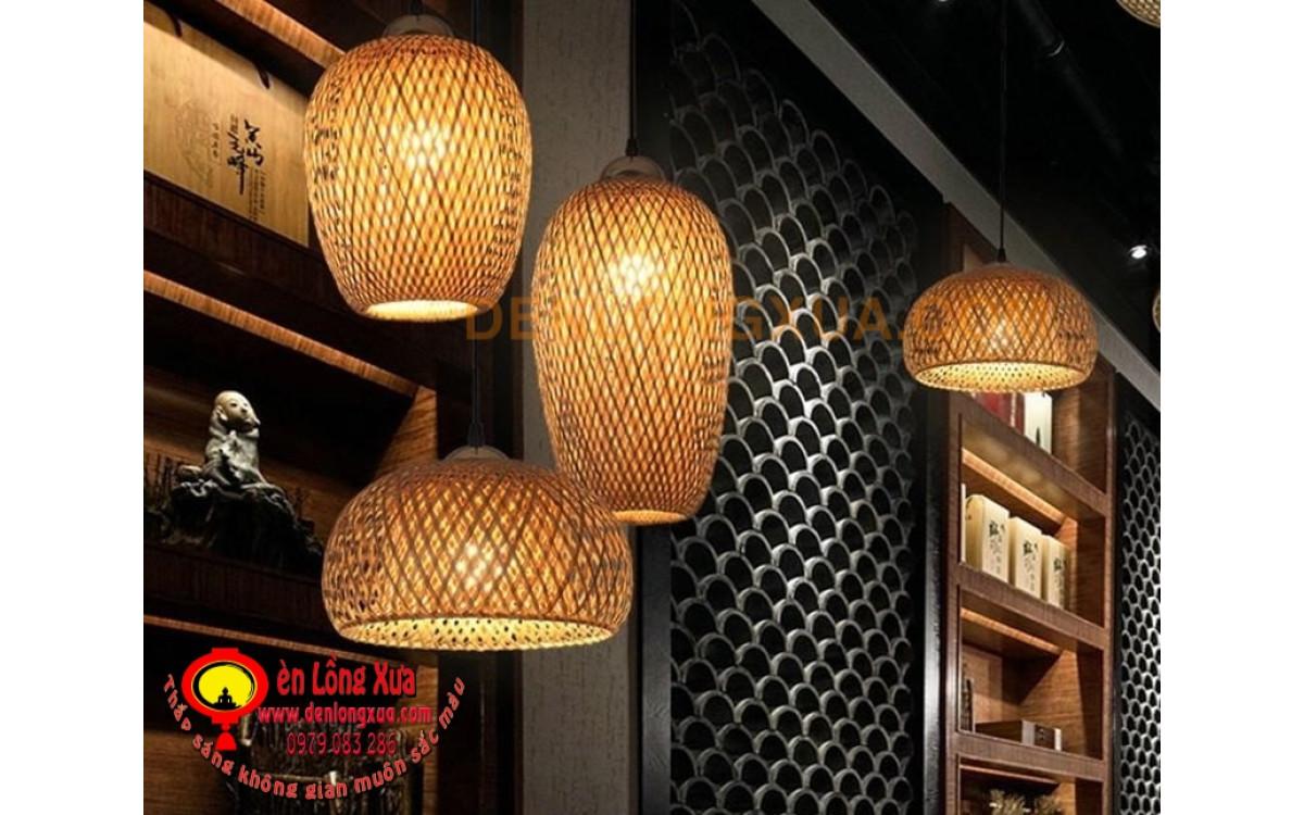 Chùm đèn trụ tre sử dụng cho trang trí nhà hàng