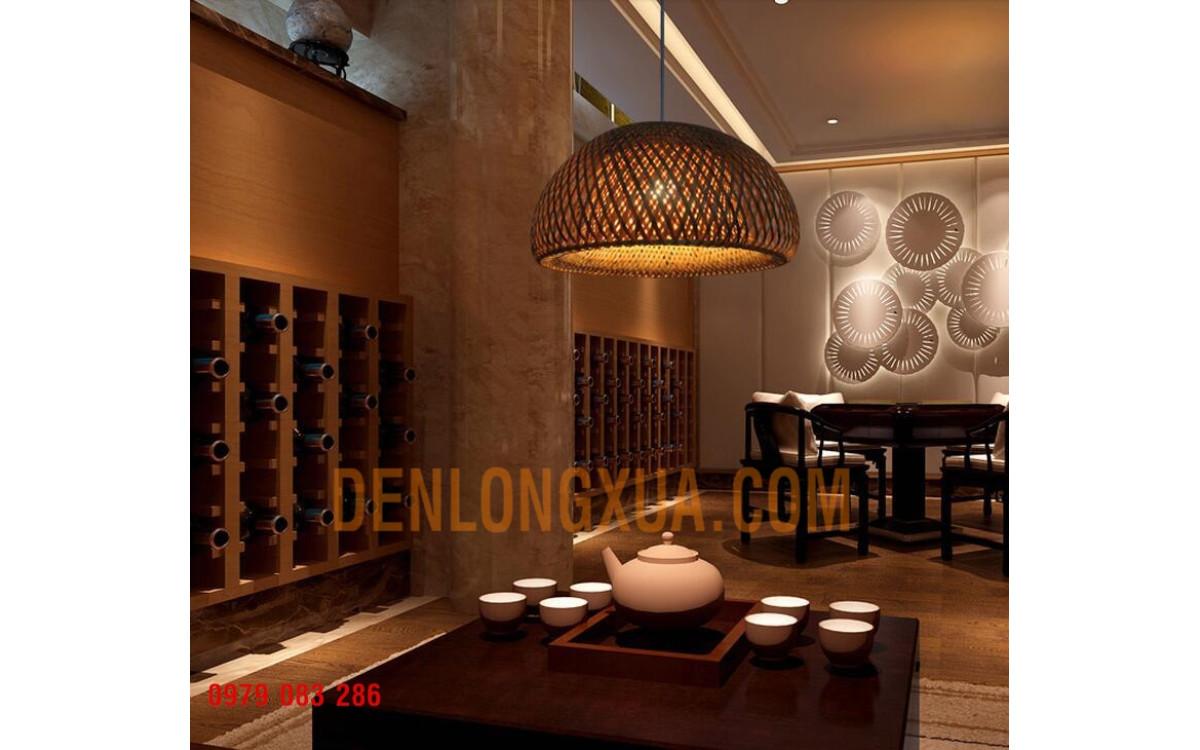 Quán cafe và quán chè đạo trang trí đèn chảo tre
