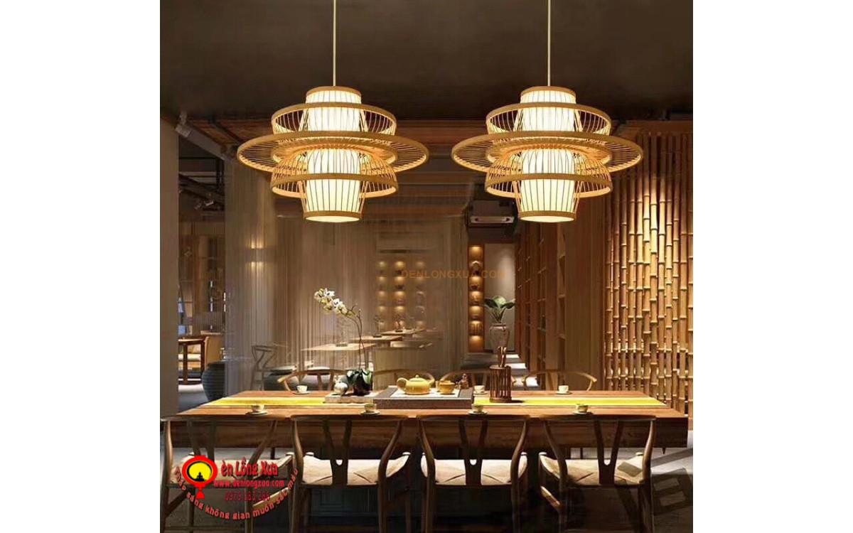 Đèn tre hình cánh bướm trang trí bàn trà nhà hàng