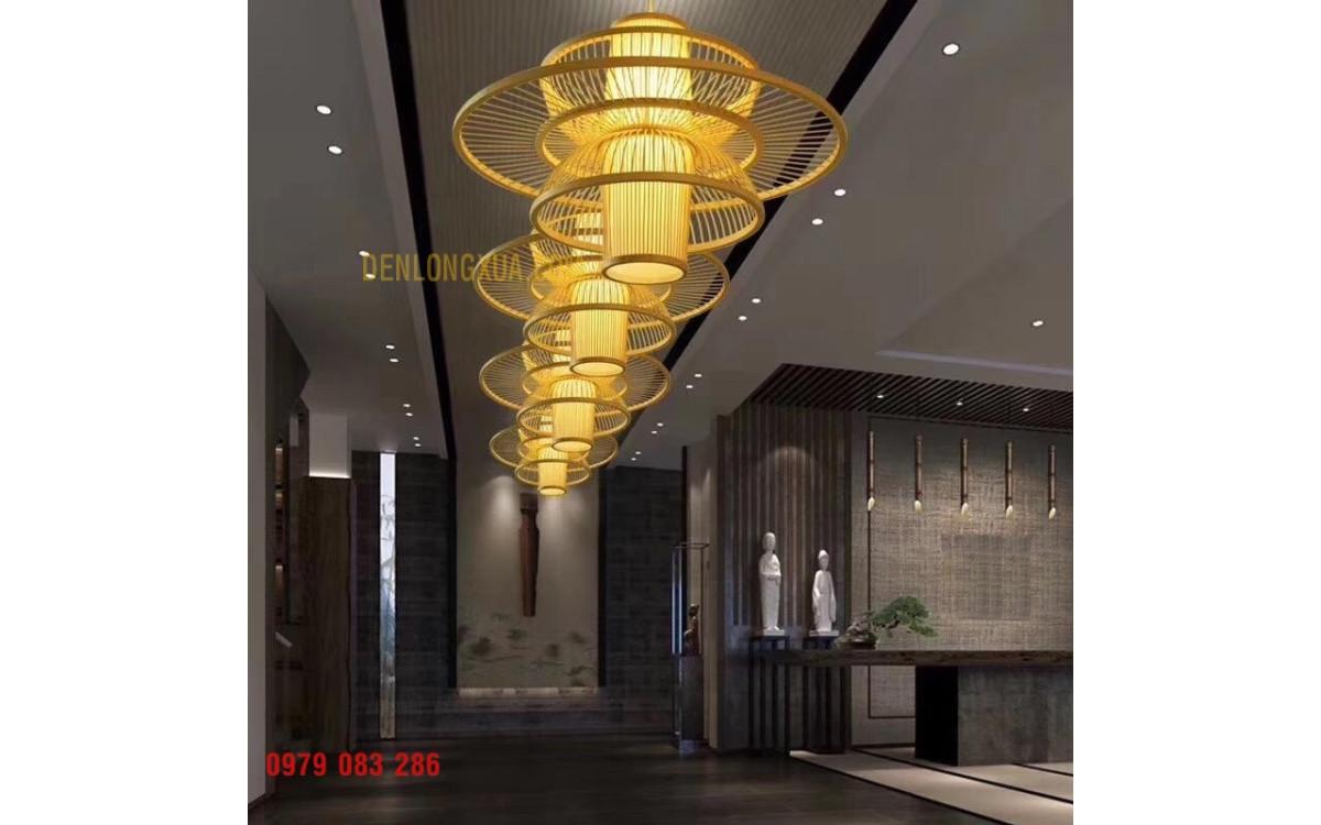 Đèn tăm tre đĩa bay trang trí không gian sảnh đón khách