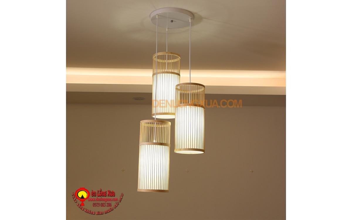 Chùm đèn trụ tăm tre trang trí không gian nhà hàng
