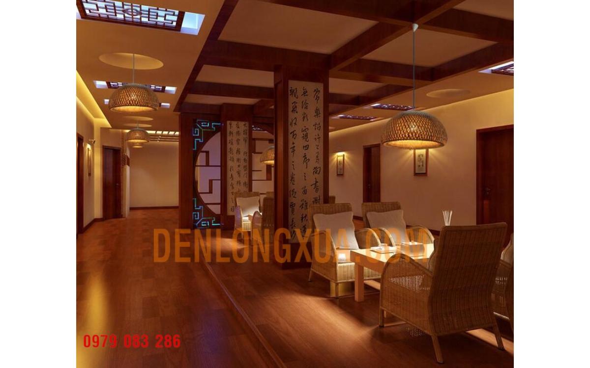 Đèn chảo tre trang trí nhà hàng phong cách cổ kính