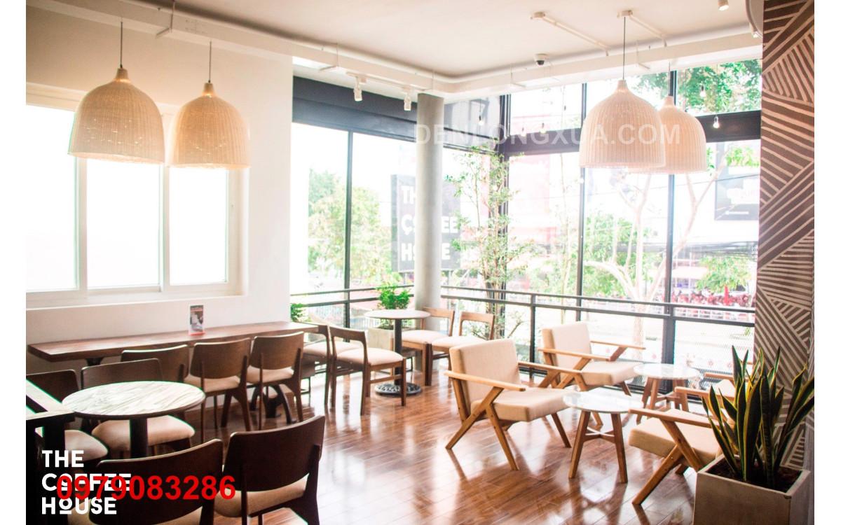 Trang trí quán cafe sử dụng đèn chuông mây
