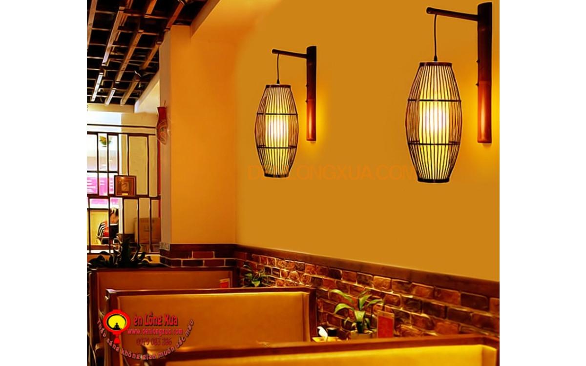 Đèn đó tre hình trụ trang trí nhà hàng