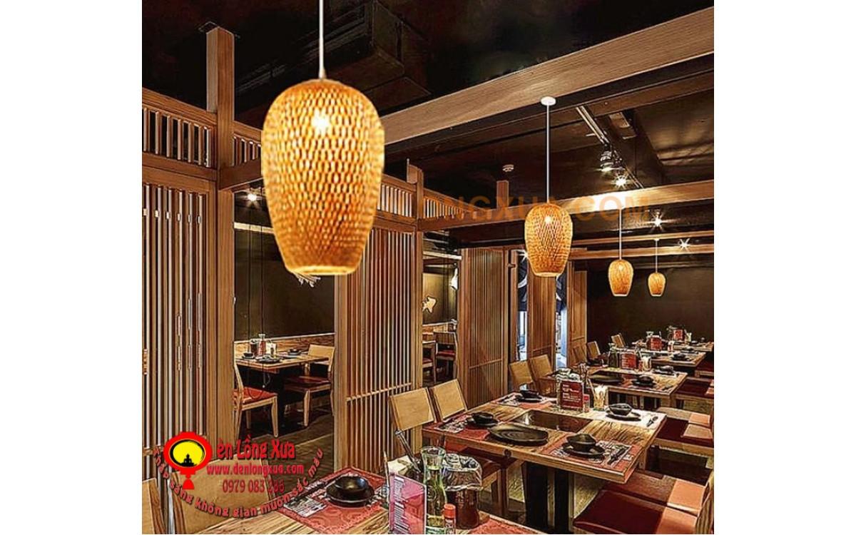 Đèn trụ tre trang trí không gian nhà hàng lẩu