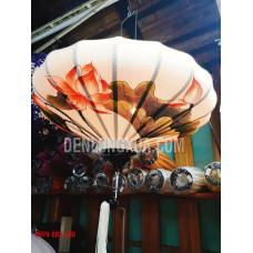Đèn lồng đĩa bay vải đũi vẽ sen